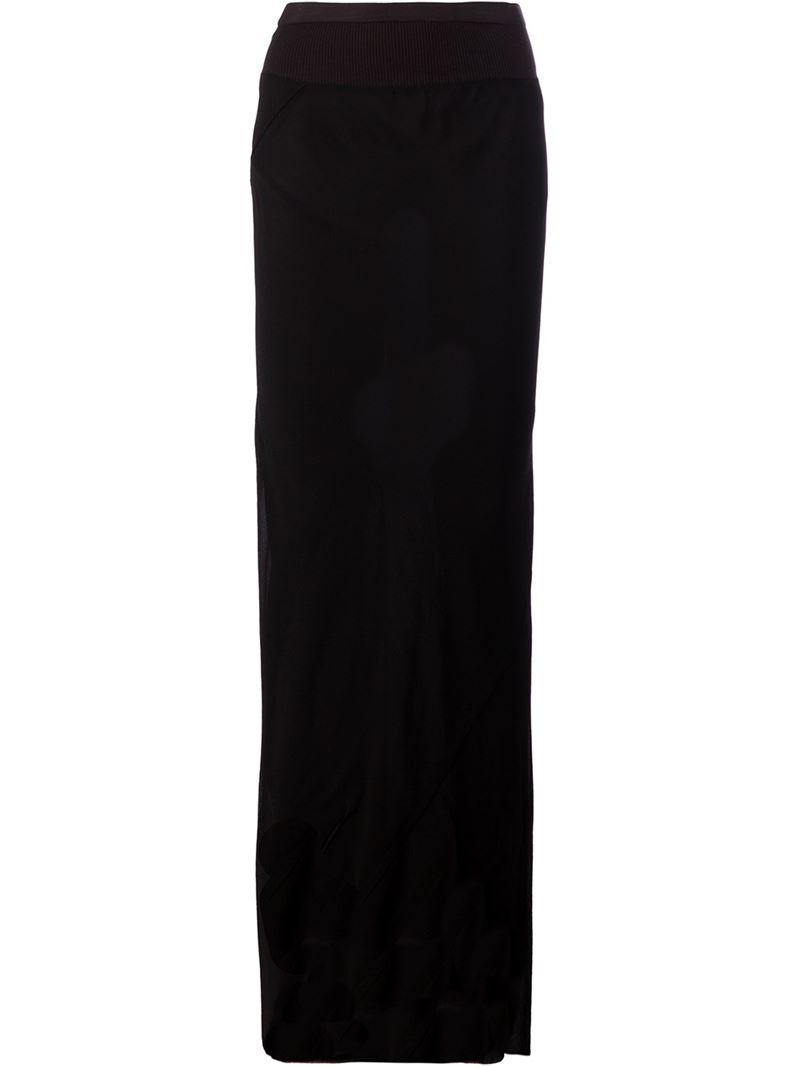 Rick owens Straight Cut Maxi Skirt in Black | Lyst