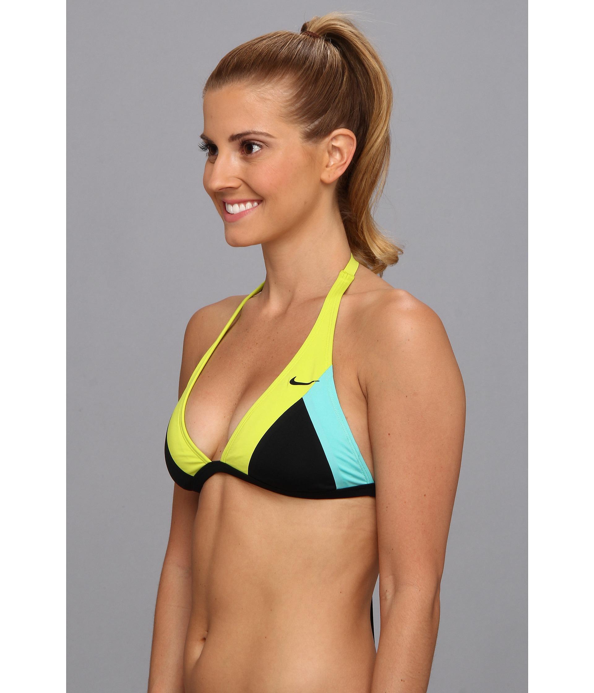 99e922a6e1 Nike Bondi Block Halter Bra Top in Yellow - Lyst