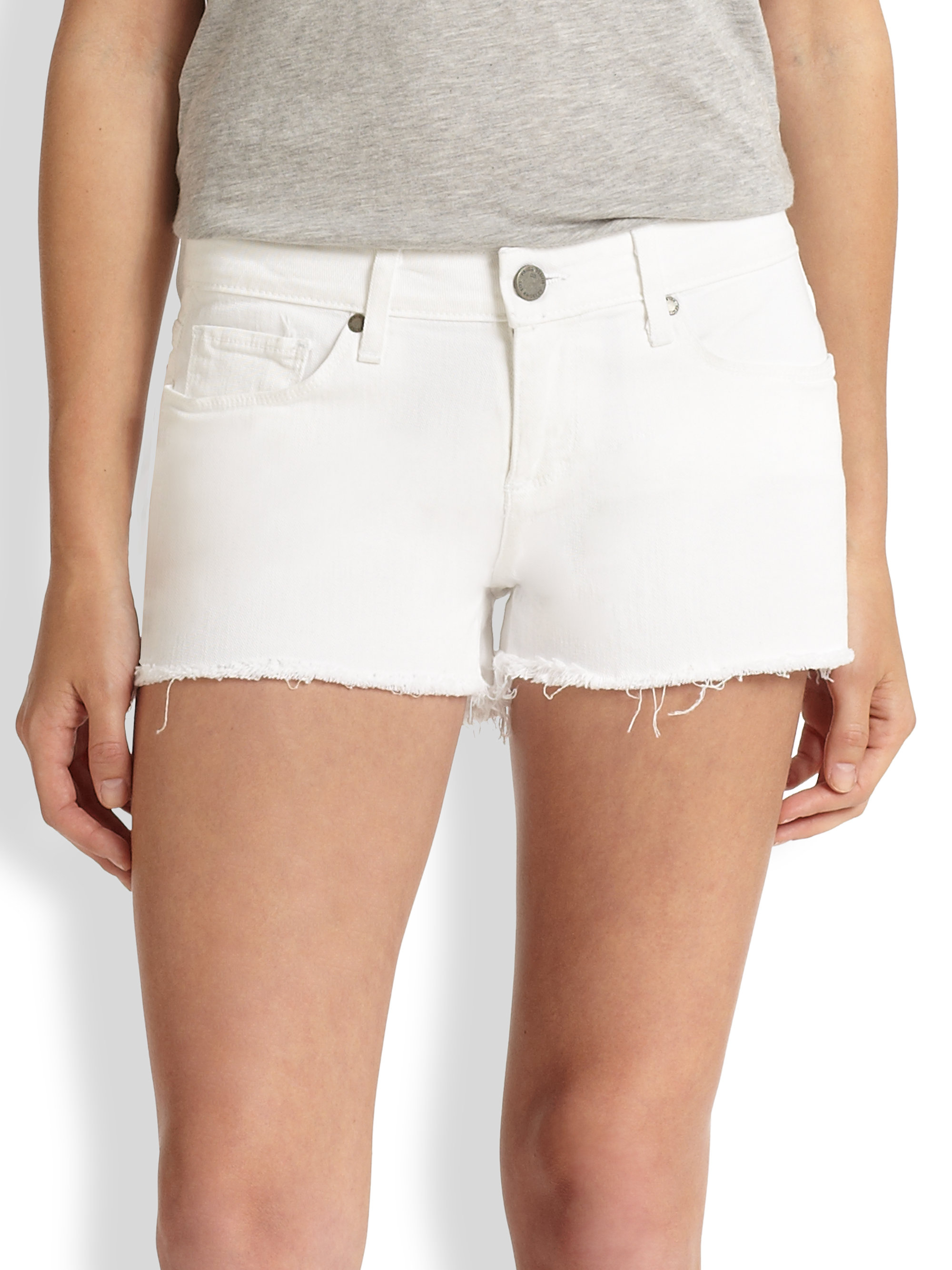 Lyst - Paige Catalina Stretch Denim Cut-Off Shorts in White