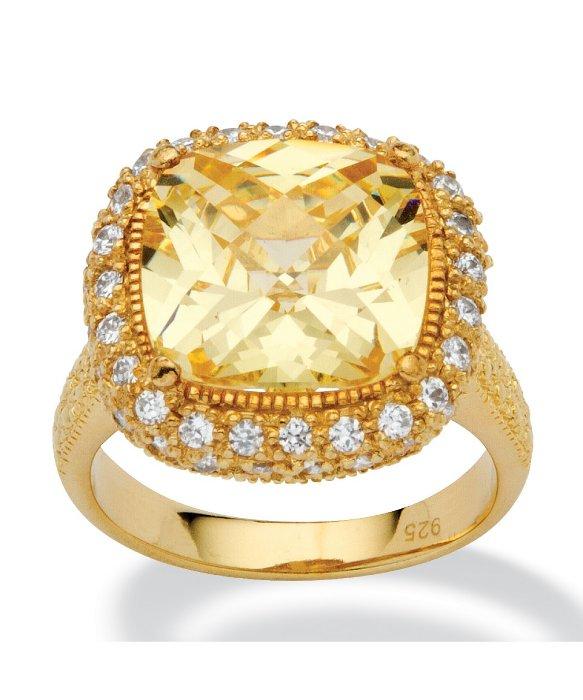 Lyst Palmbeach jewelry 4 54 Tcw Cushion cut Canary Yellow Cubic