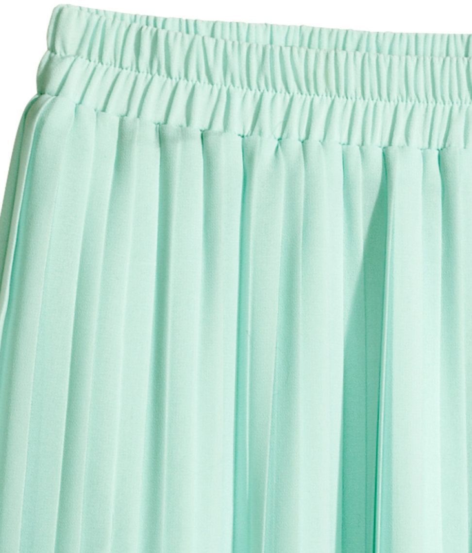 h m pleated skirt in green mint green lyst