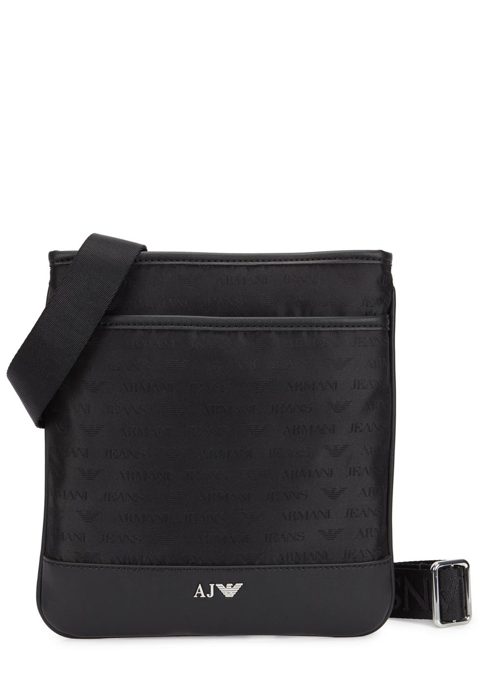 3ebdcf5549c7 Armani Jeans Black Monogrammed Cross-body Bag in Black for Men - Lyst