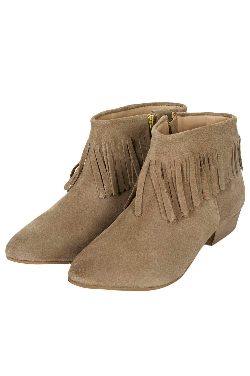 topshop blinked fringed ankle boots in brown taupe lyst