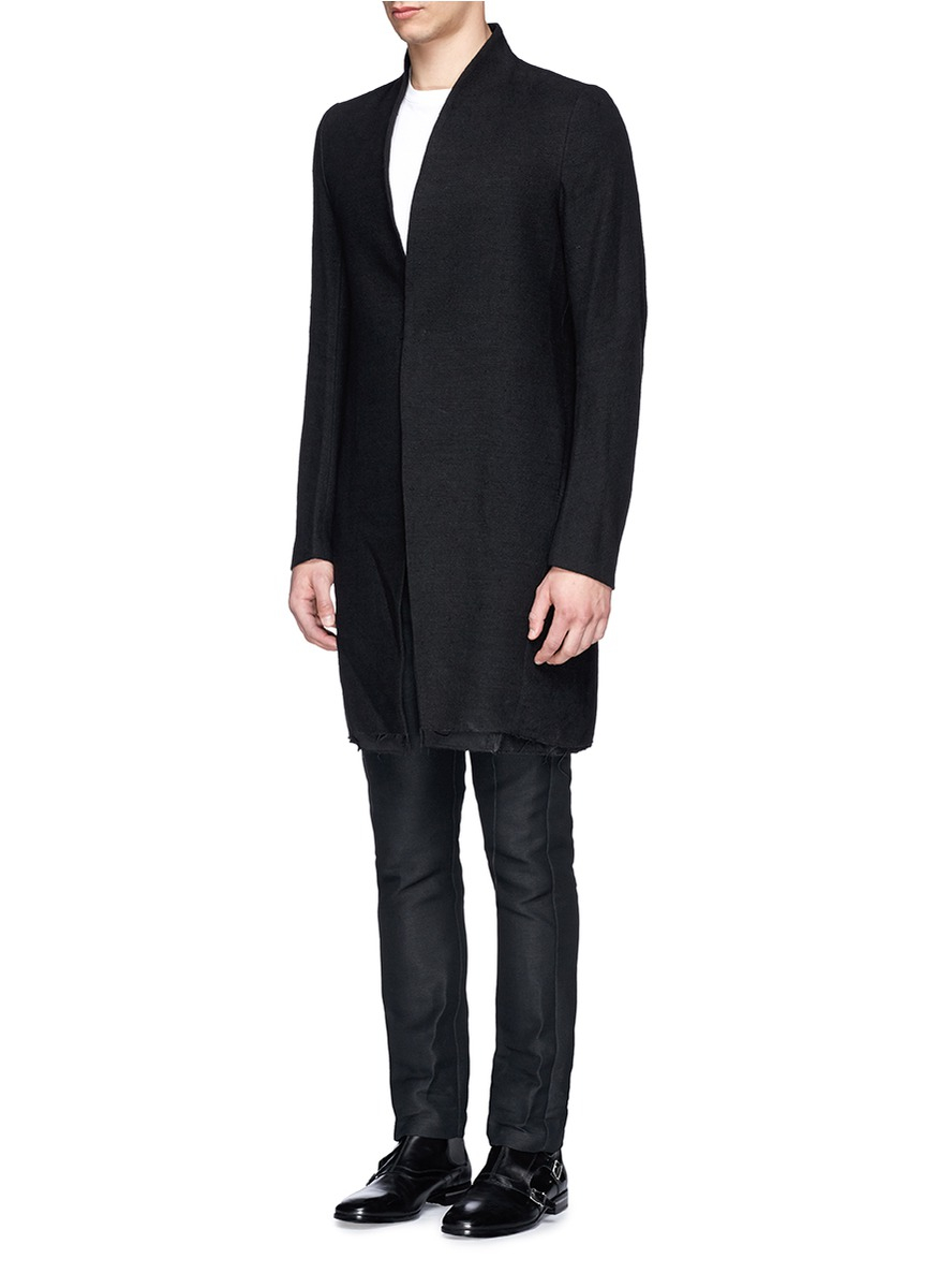 Song for the mute Raised Neck Silk-linen Long Coat in Black for ...