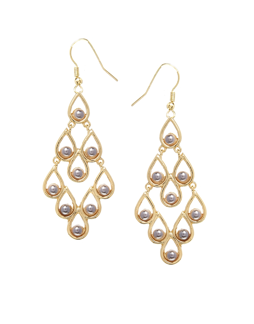 Lyst asos filigree faux pearl chandelier earrings in metallic gallery arubaitofo Gallery