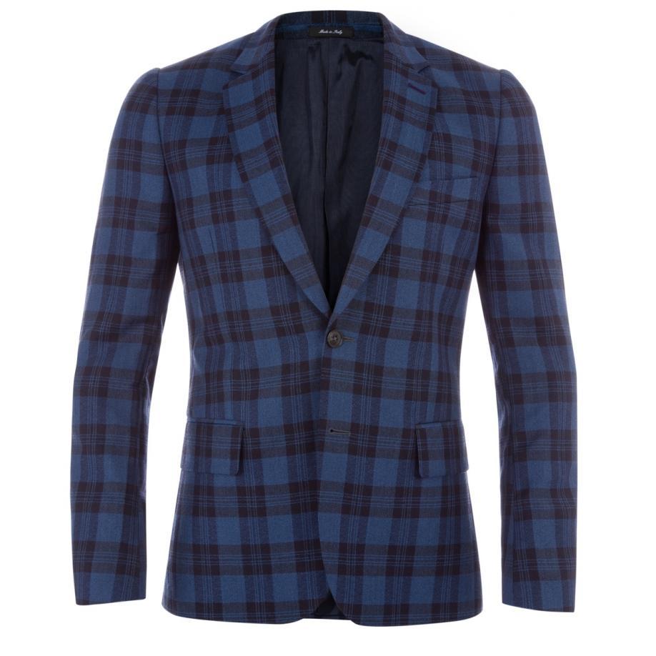 Paul smith Men's Tailored-fit Blue Check Wool-linen Blazer ...