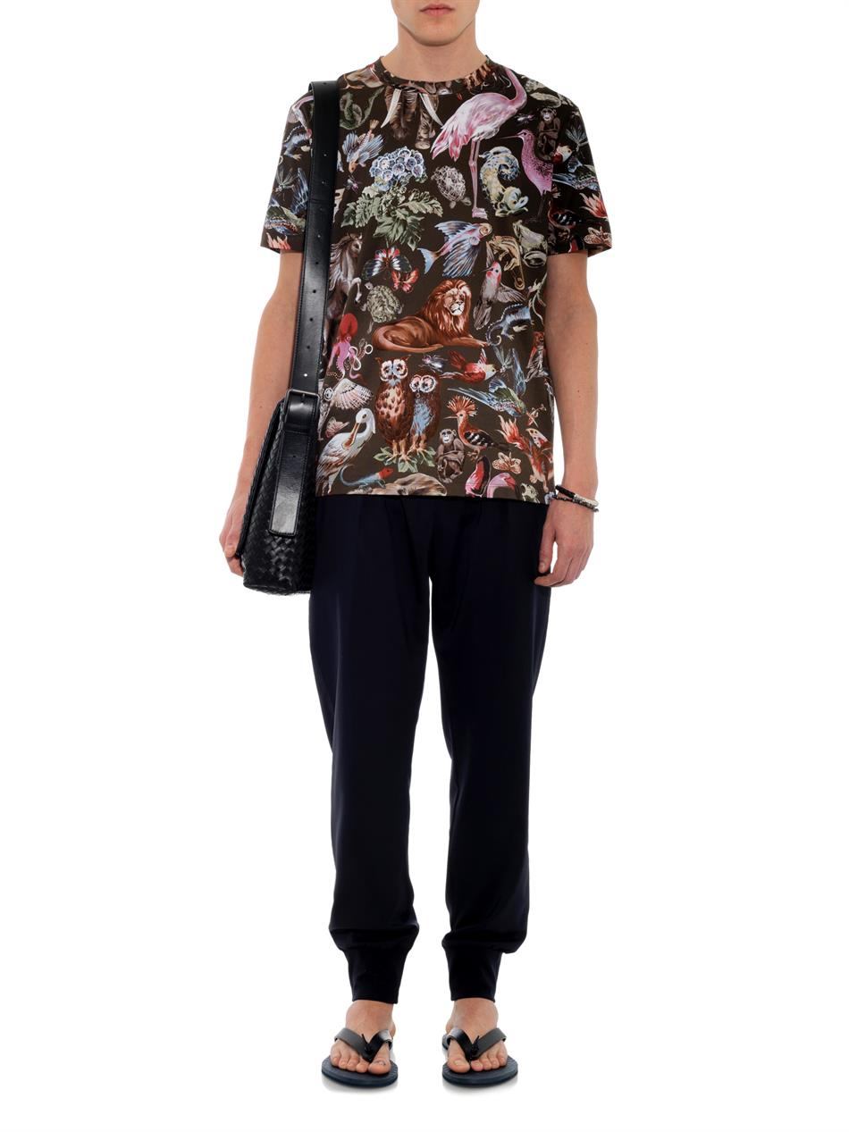 Valentino Animal Print Cotton T Shirt In Brown For Men Lyst