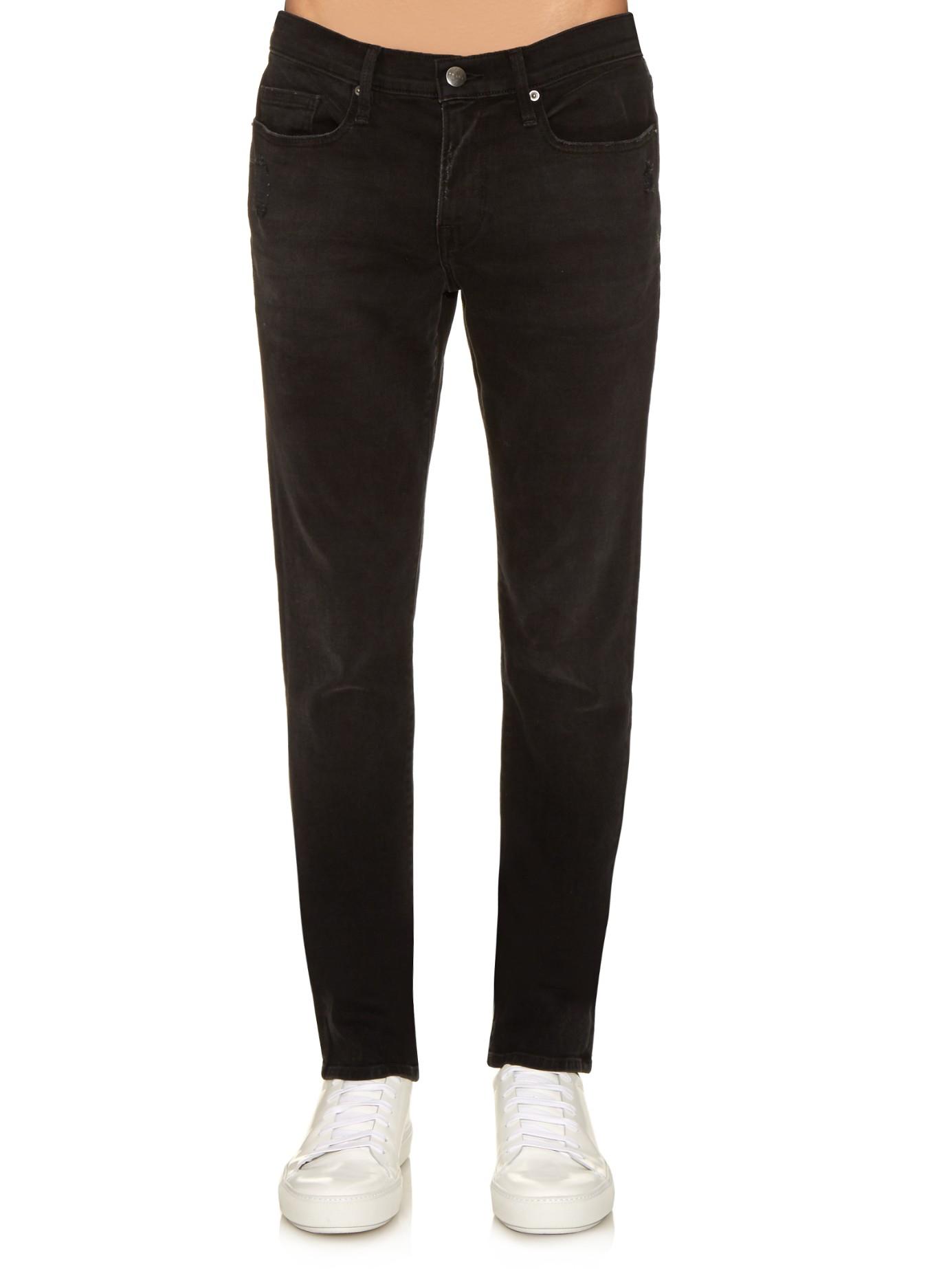 lyst frame l 39 homme skinny jeans in black for men. Black Bedroom Furniture Sets. Home Design Ideas