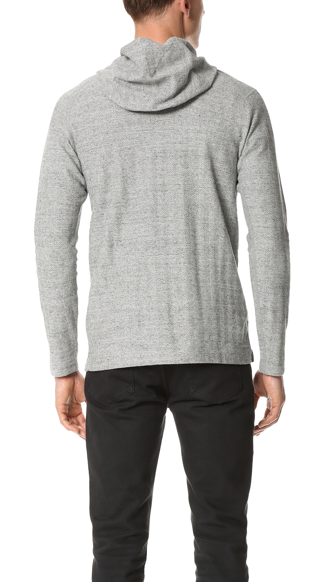 Wings   horns Herringbone Knit Pullover Hoodie in Gray for Men | Lyst