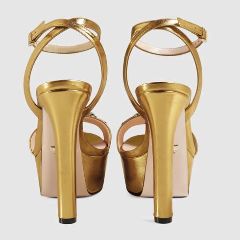 964280e9bfa Lyst - Gucci Metallic Platform Sandal in Metallic