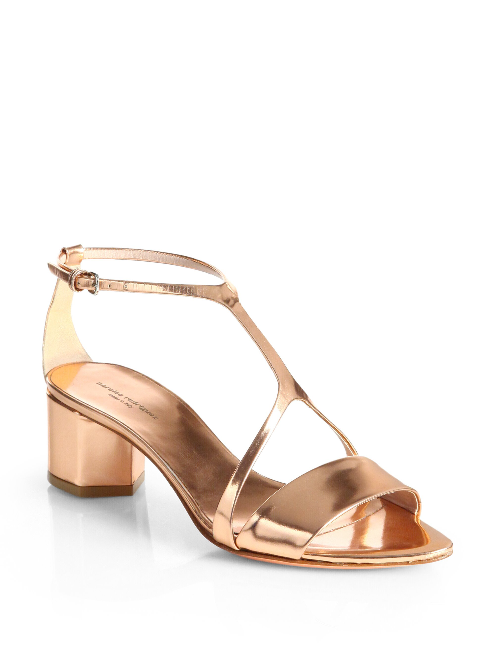 discount the cheapest discount fashionable Narciso Rodriguez Metallic Patent Leather Sandals discount deals visit cheap price shopping online free shipping 1XeeZl