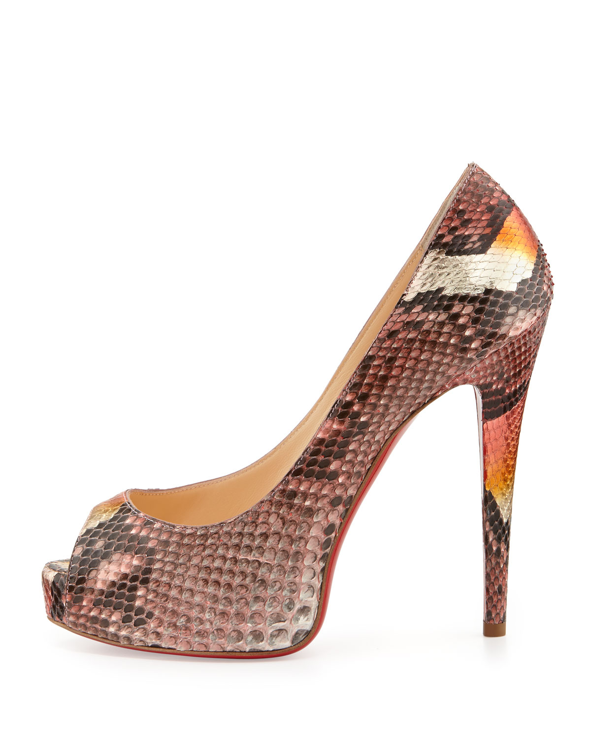 fake louboutin shoes - christian louboutin peep-toe wedges Grey and multicolor python ...