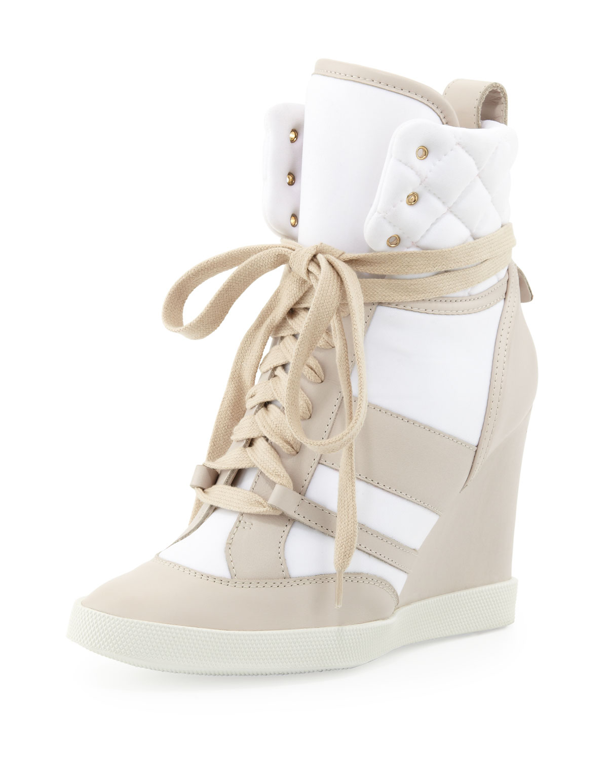 chlo quilted hightop wedge sneaker neutral lyst. Black Bedroom Furniture Sets. Home Design Ideas