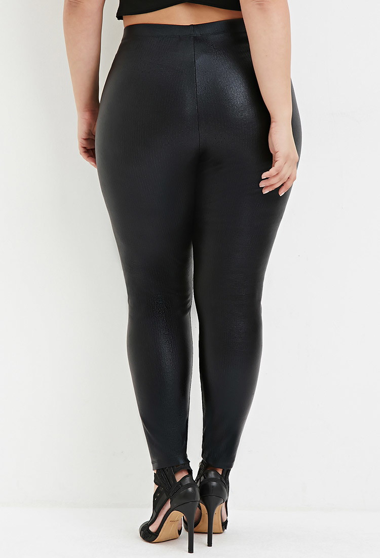 Forever 21 Plus Size Ribbed Faux Leather Leggings in Black | Lyst