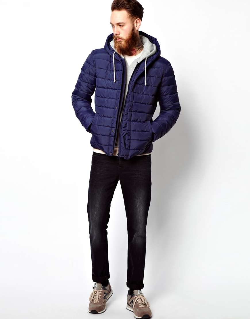 Asos Quilted Jacket with Jersey Hood in Blue for Men | Lyst : mens quilted hooded jacket - Adamdwight.com