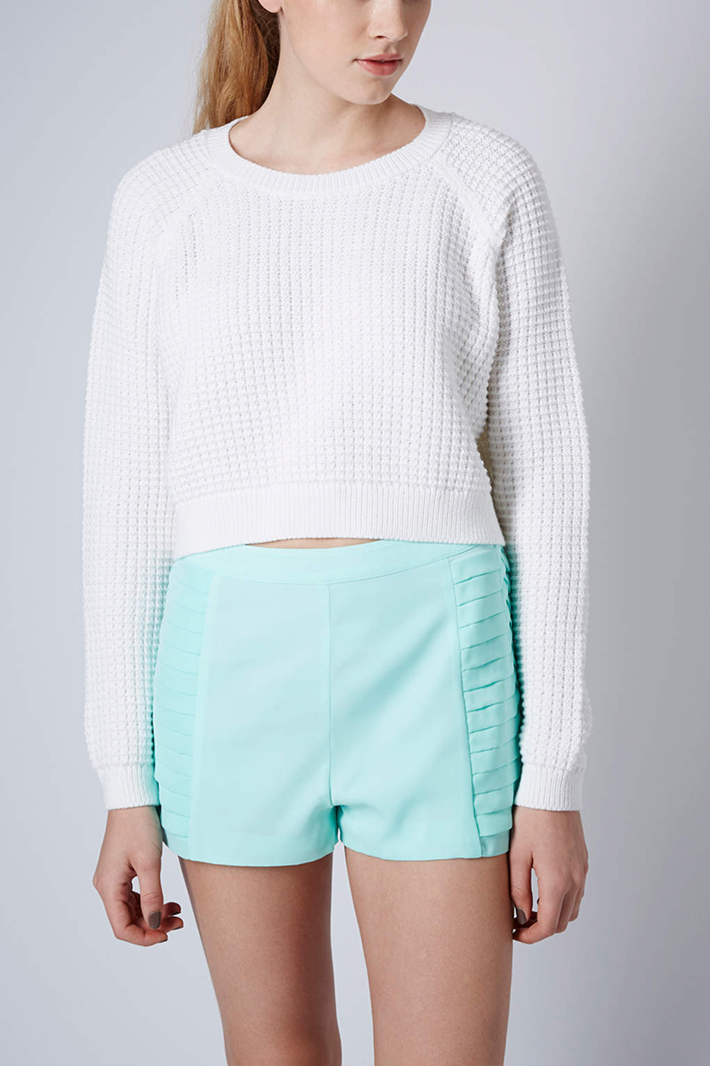 Topshop Fisherman Cropped Sweater in White | Lyst
