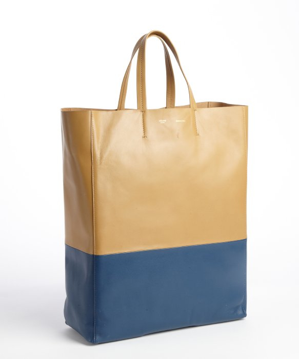 C¨¦line Camel Lambskin Twotone Tote Bag in Blue (camel) | Lyst