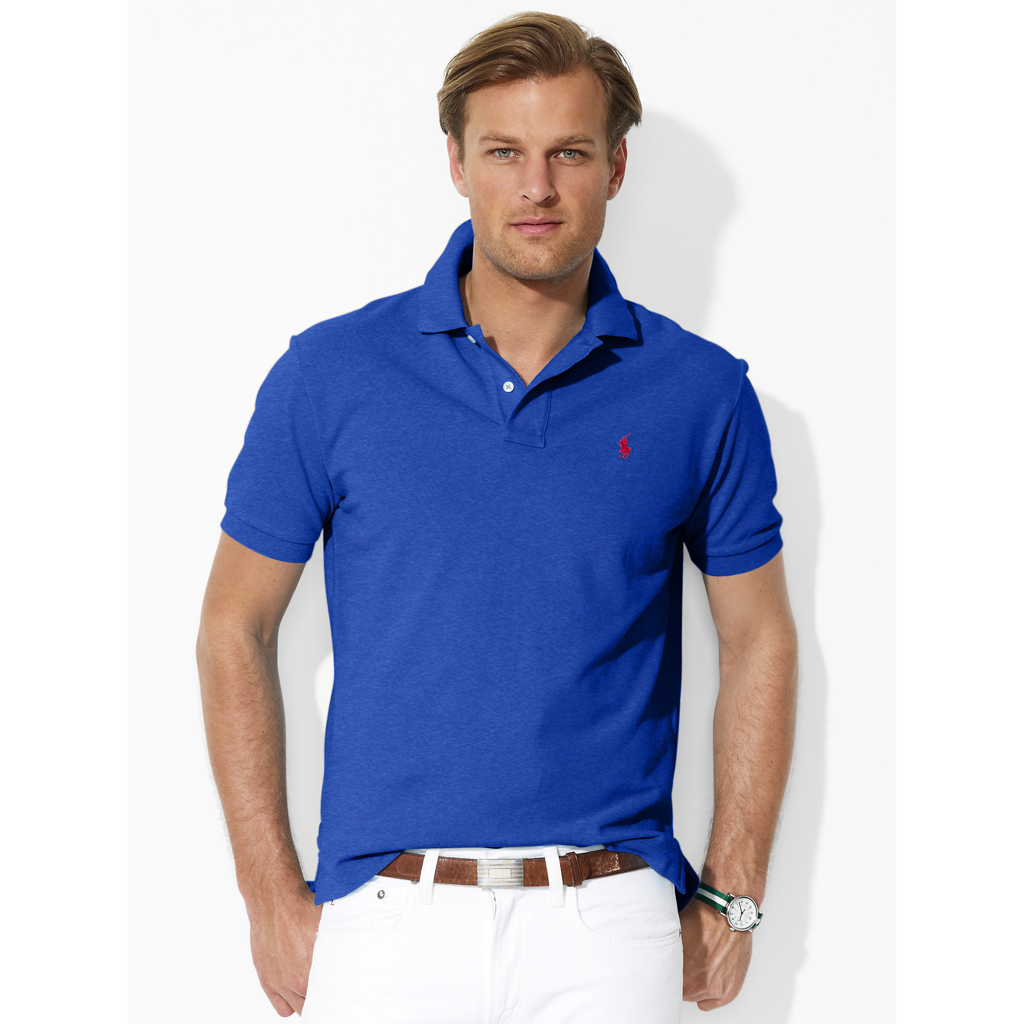 abf9a573 ... official store lyst polo ralph lauren classic fit mesh polo in blue for  men c5a07 470a3
