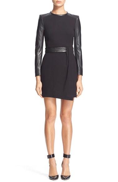 Lyst The Kooples Lambskin Leather Sleeves Draped Dress In Black