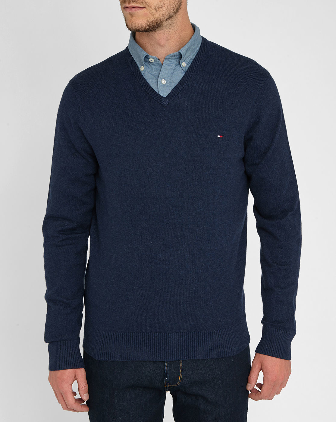 Tommy hilfiger Navy Cotton/wool/cashmere V-neck Sweater in Blue for ...