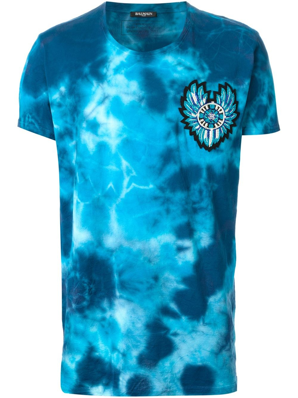 Lyst balmain tie dye t shirt in blue for men for Nike tie dye shirt and shorts