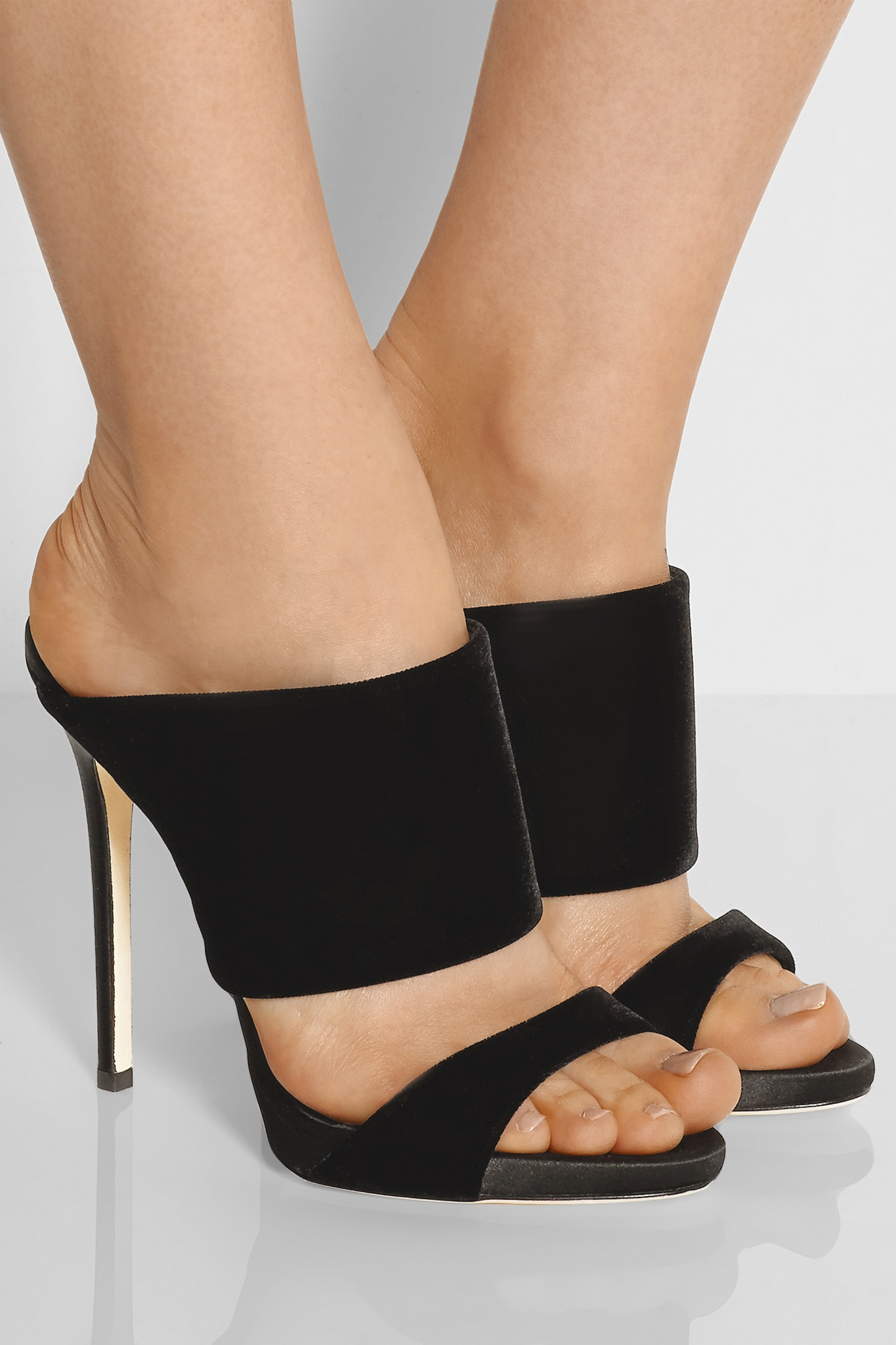 7fb225447216 ... Cruel Coline Wing Embellished High-Heel Sandals ... Lyst - Giuseppe  Zanotti Coline Velvet Mules in Black another chance 5e44d c4507 ...