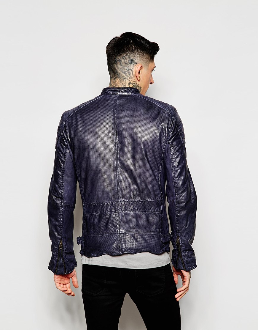 lyst scotch soda classic leather jacket in blue for men. Black Bedroom Furniture Sets. Home Design Ideas