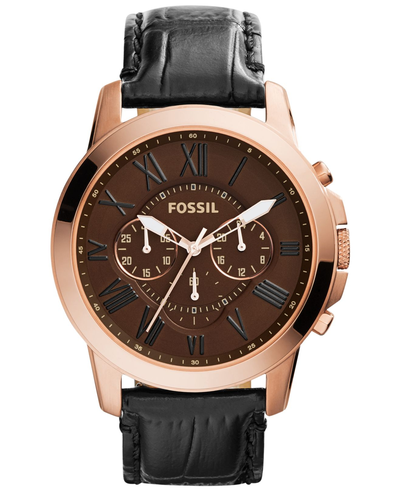 fossil men s chronograph grant black croc embossed leather strap gallery