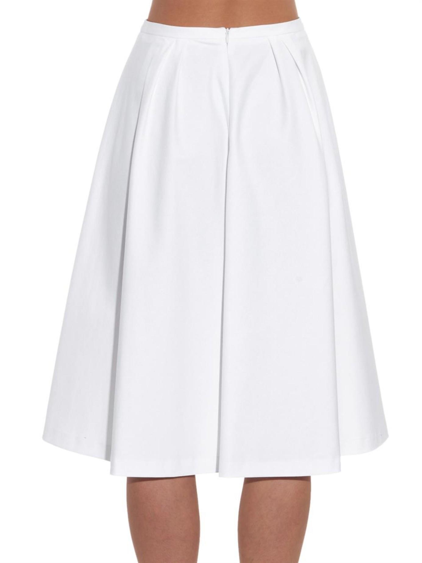 valentino pleated cotton gabardine skirt in white