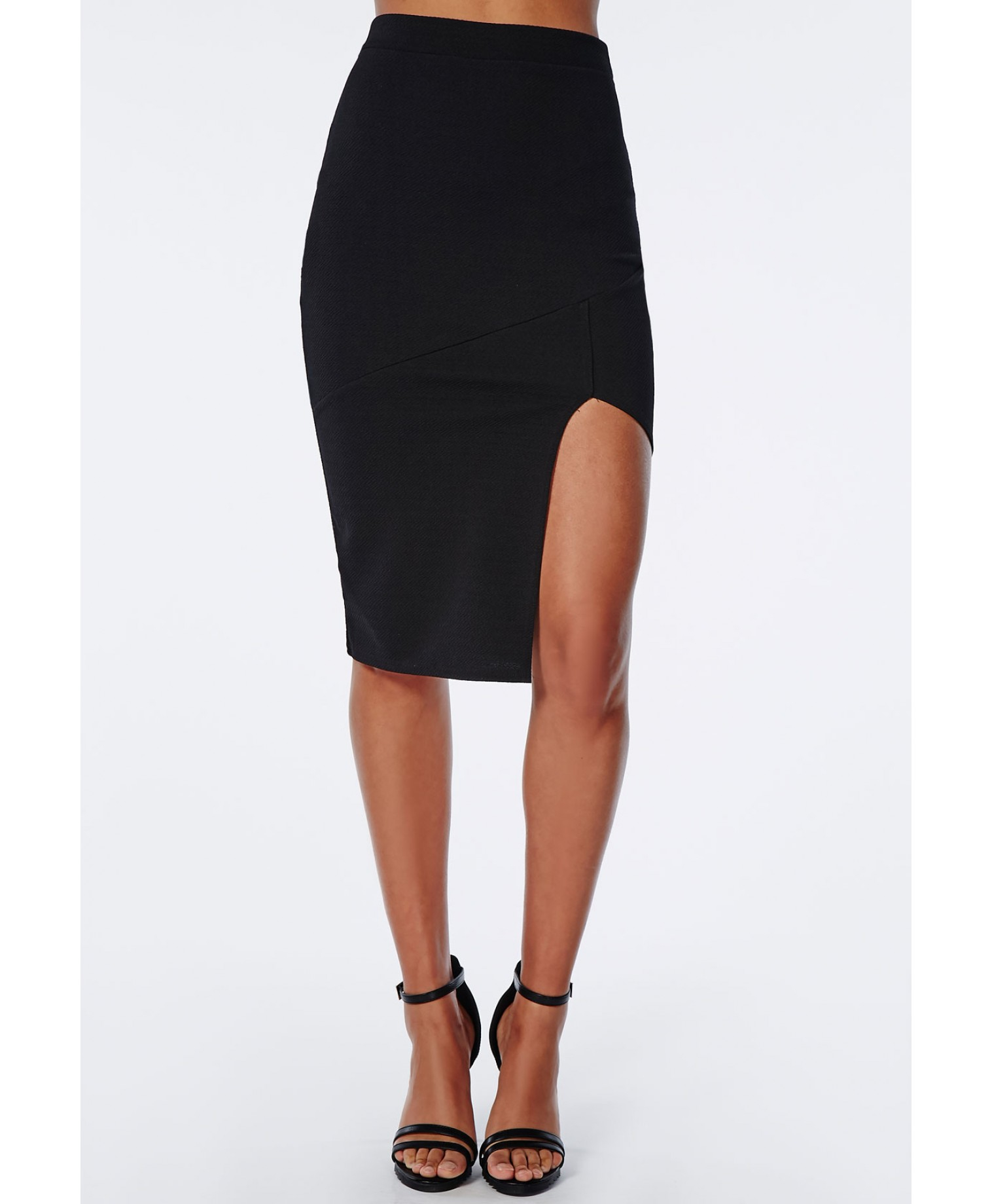 missguided front split textured midi skirt black in black