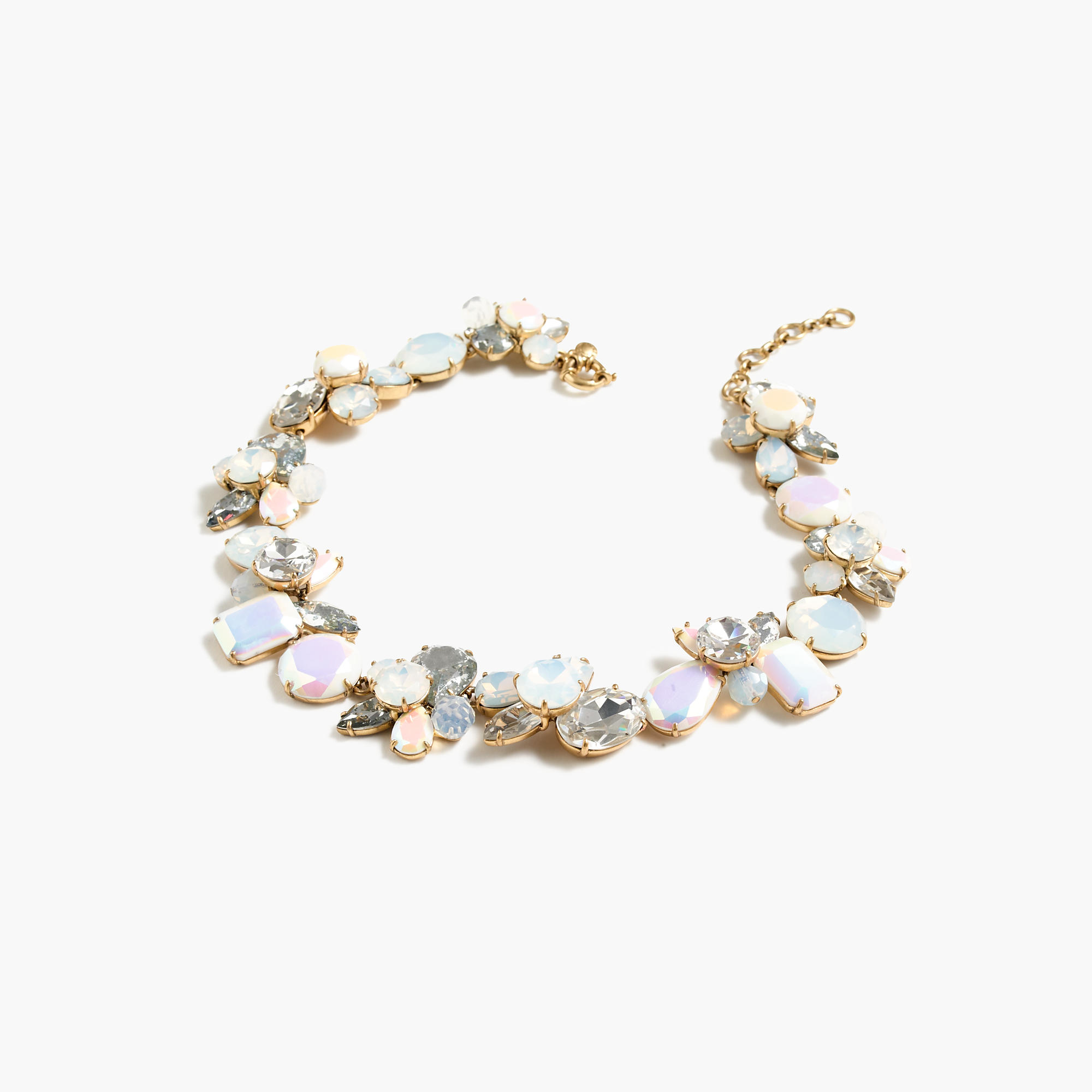 Crystal cluster necklace in multicolor marine salt for J crew jewelry 2015