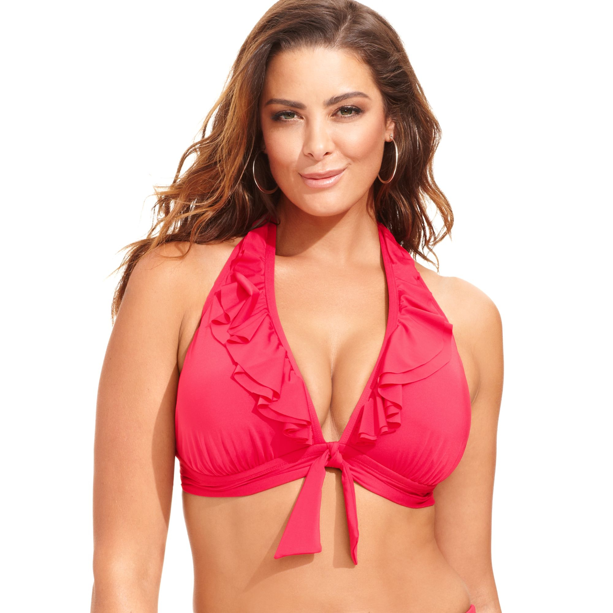 Kenneth cole reaction pink plus size ruffle halter bikini top lyst