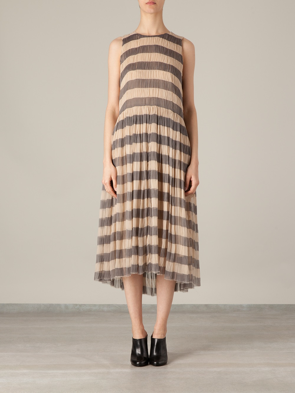 Lyst Sara Lanzi Striped Midi Dress In Gray