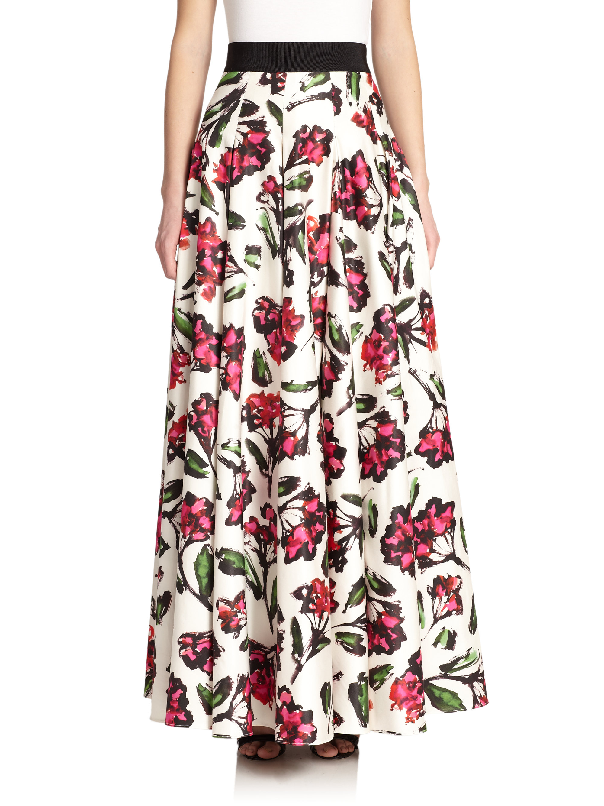 milly pleated blossom print maxi skirt in pink lyst