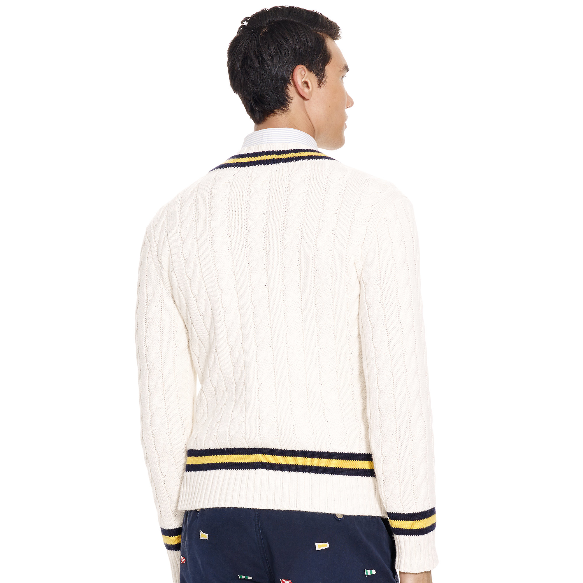 Polo ralph lauren Cotton-blend Cricket Sweater in White for Men | Lyst