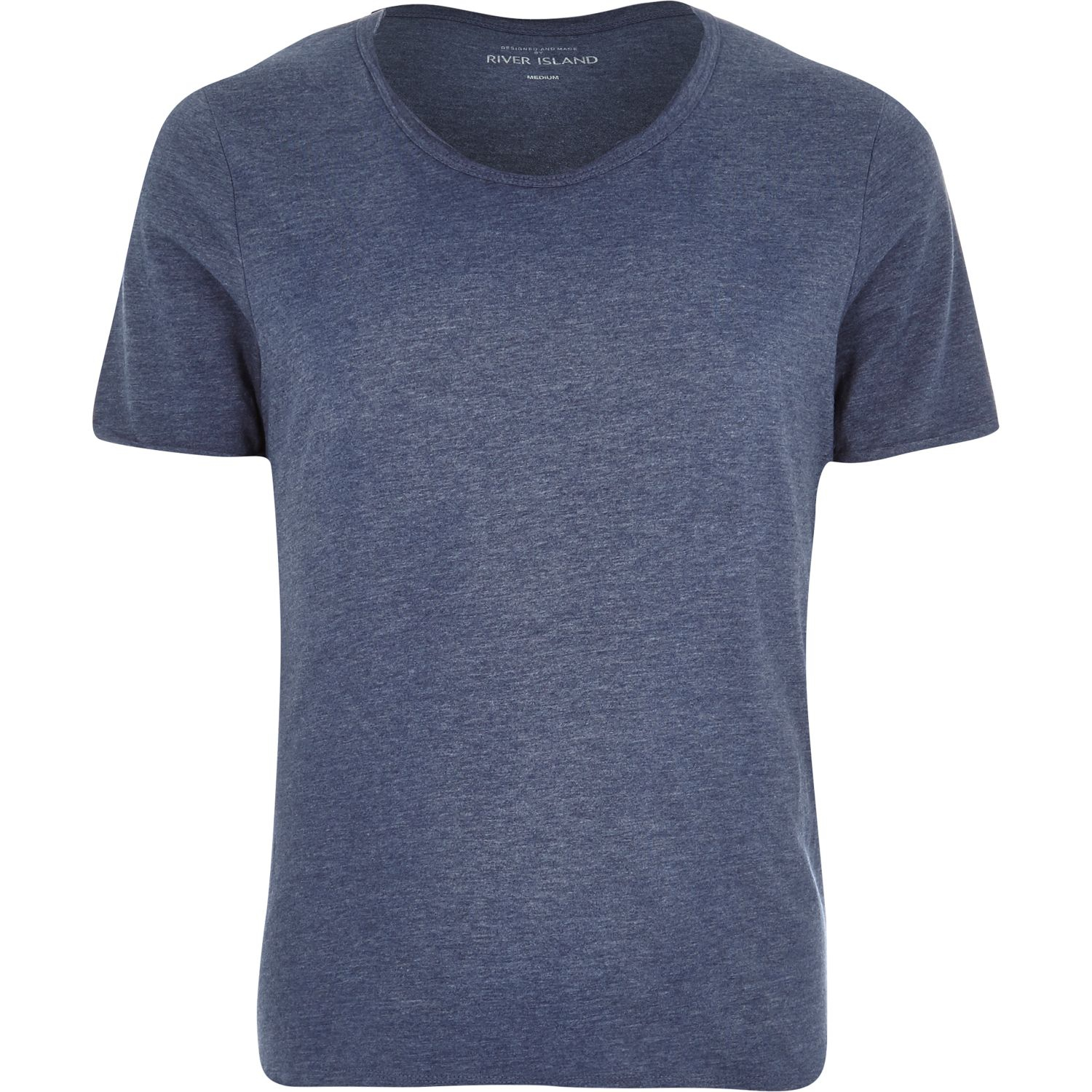 River Island Navy Marl Low Scoop Neck T Shirt In Blue For