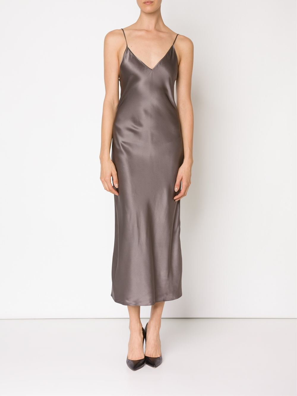ed45a63c8ac5 Protagonist Long Slip Dress in Gray - Lyst