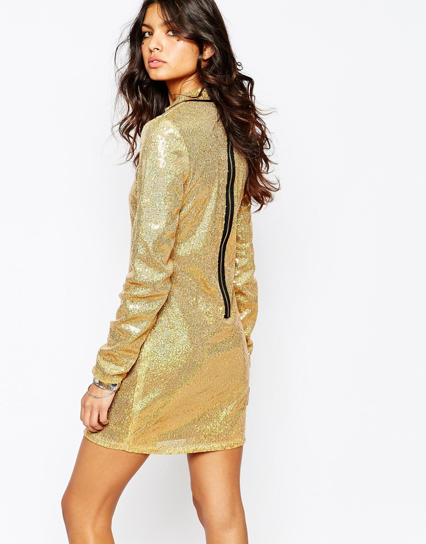 Jaded london Sequin Mini Dress With High Neck & Long Sleeves in ...