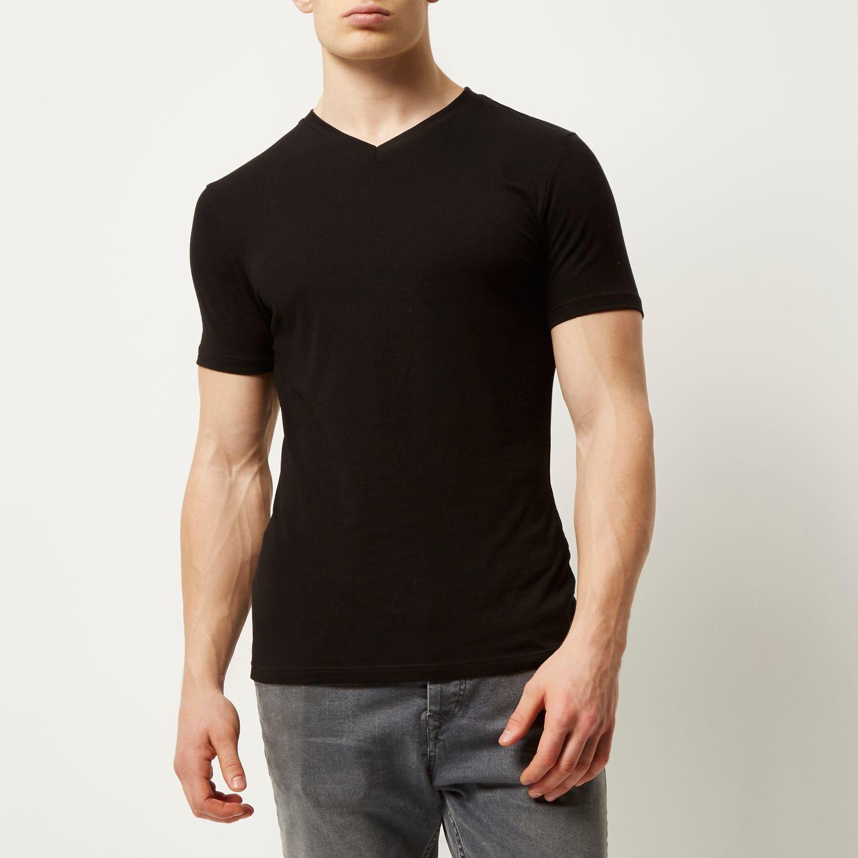River Island Black V Neck Muscle Fit T Shirt In Black For