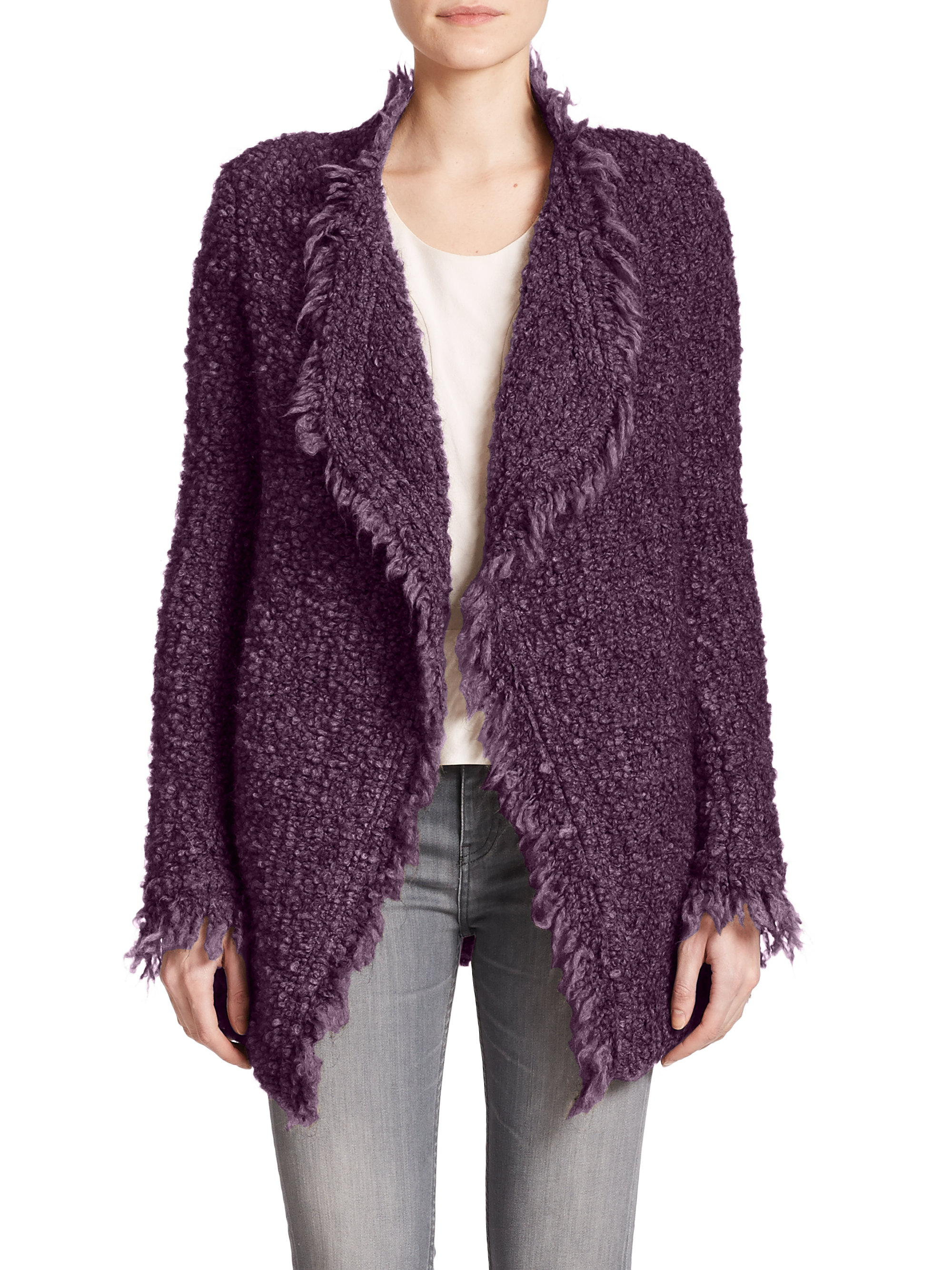 Iro Campbell Open-front Bouclé Cardigan in Purple | Lyst