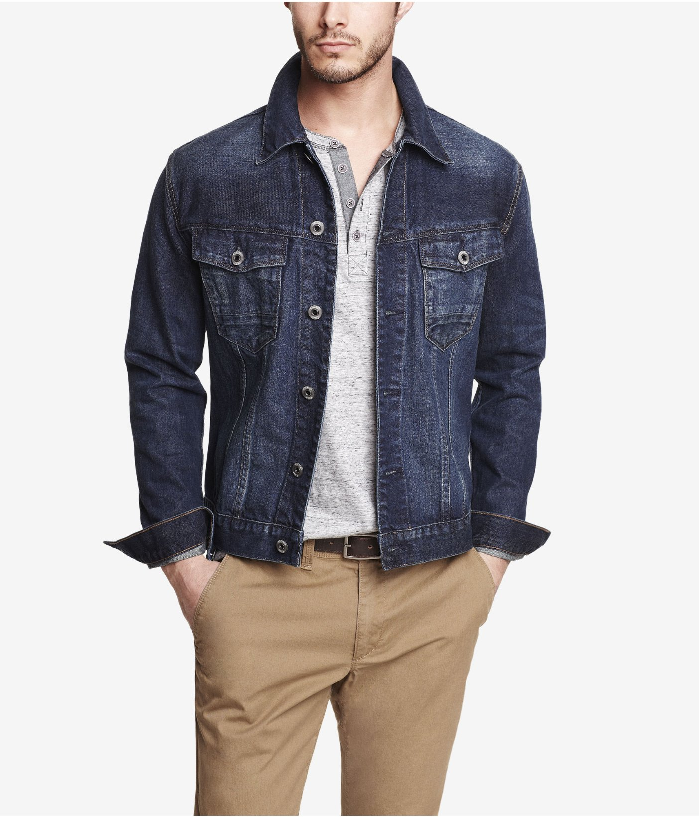 Express Dark Denim Jacket in Blue for Men | Lyst