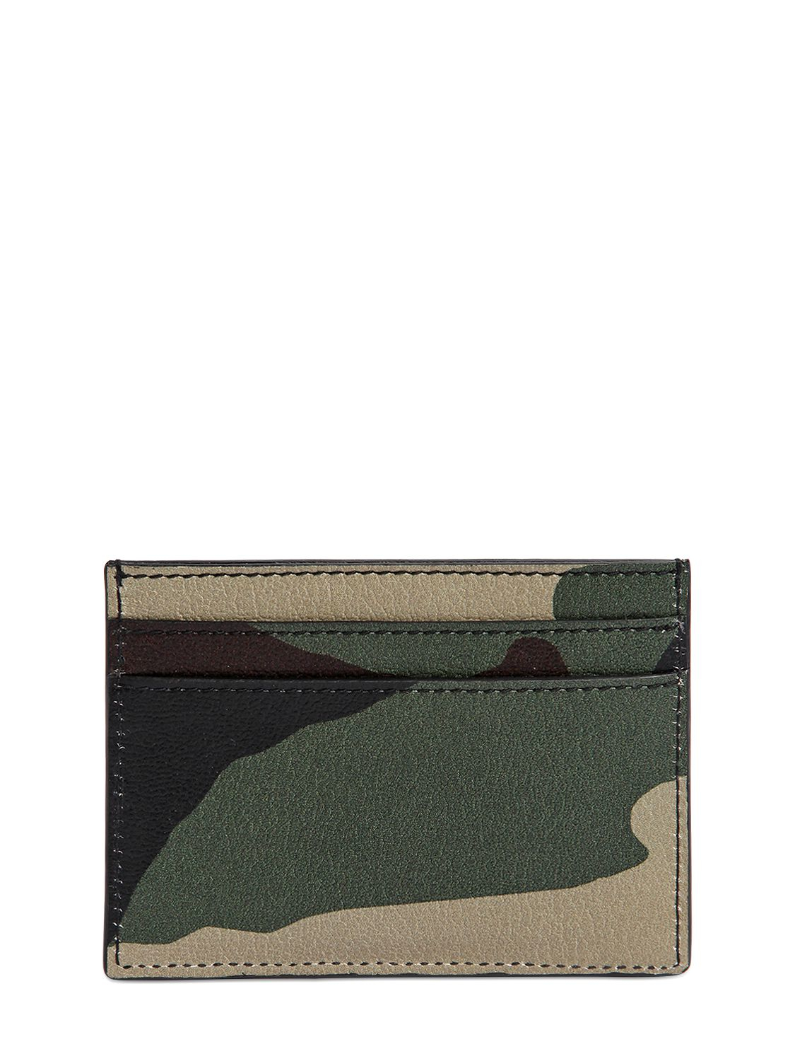 Saint laurent Camouflage Printed Leather Card Holder in Green | Lyst