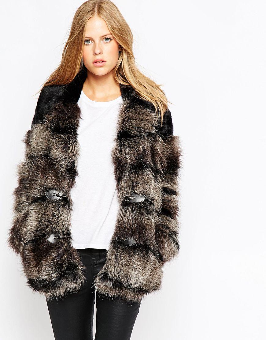 Urbancode Faux Fur Duffle Coat in Black | Lyst