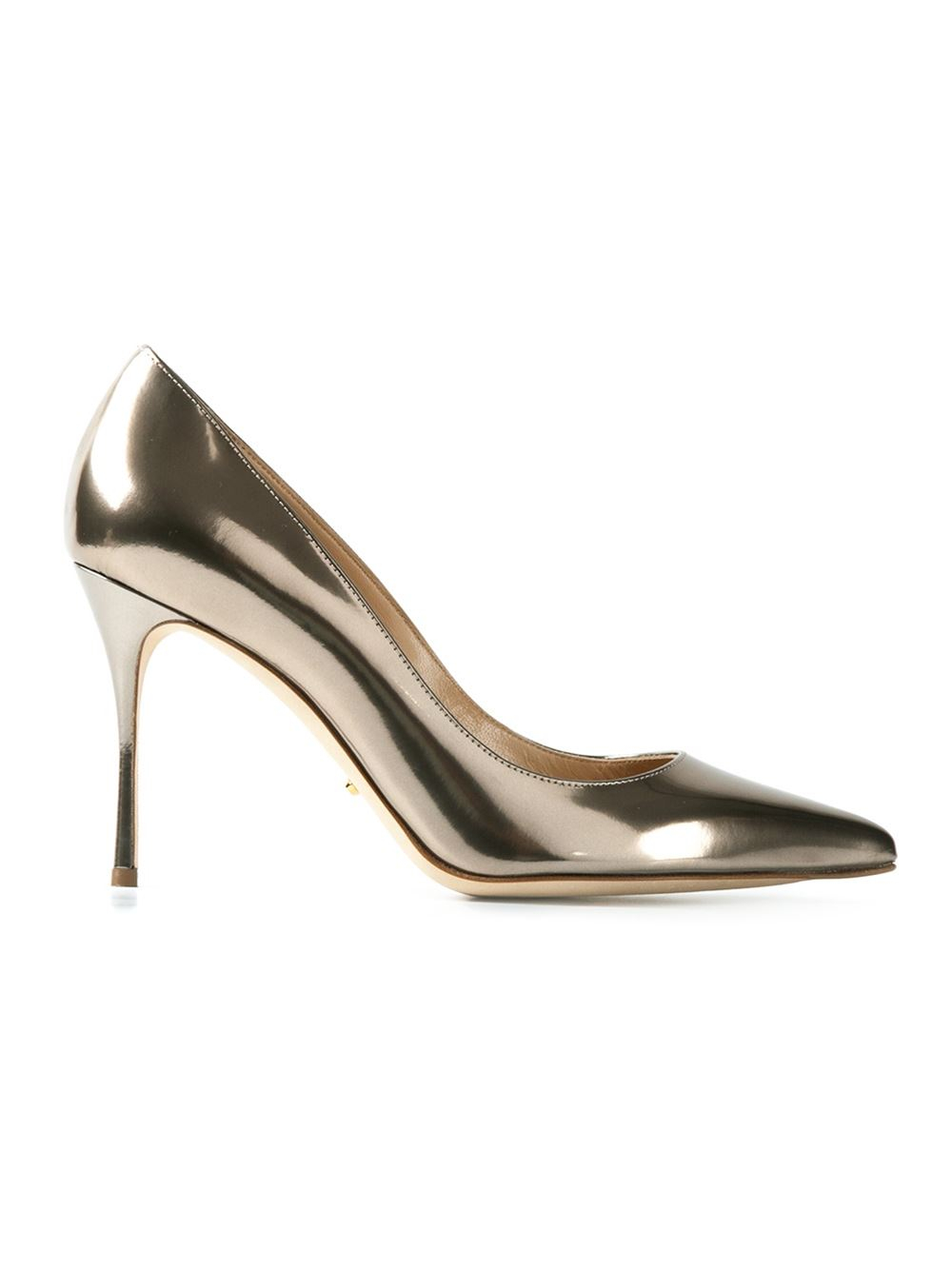 sergio rossi stiletto pumps in silver metallic lyst. Black Bedroom Furniture Sets. Home Design Ideas