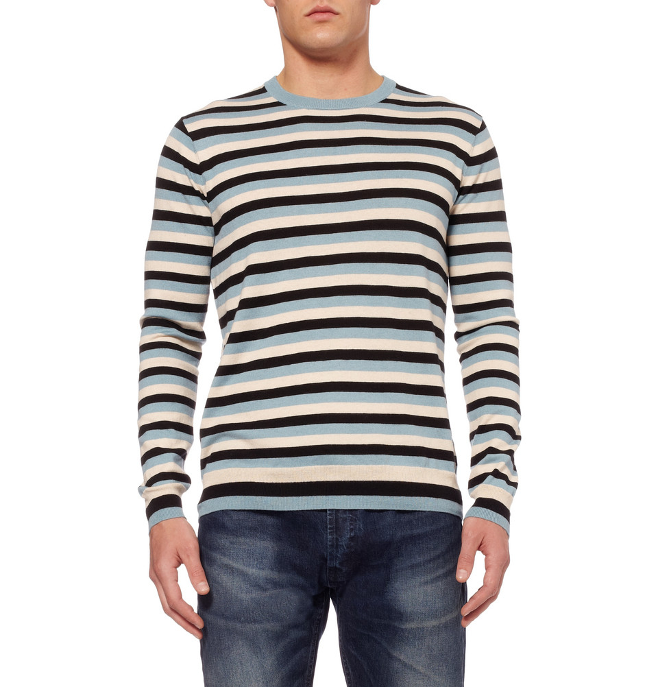 marc by marc jacobs silk cotton cashmere striped pullover in blue for men lyst. Black Bedroom Furniture Sets. Home Design Ideas