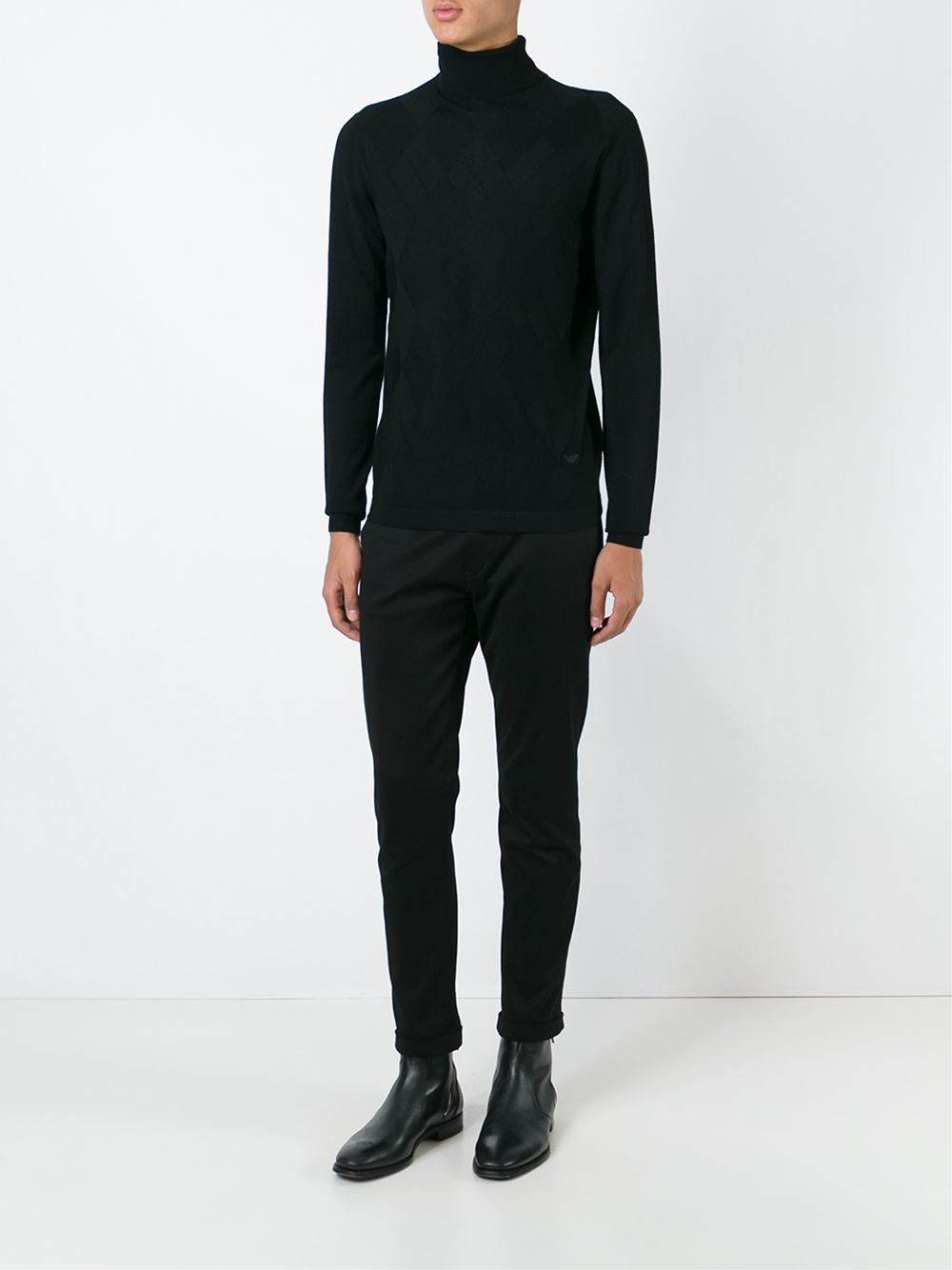 emporio armani roll neck sweater in black for men lyst. Black Bedroom Furniture Sets. Home Design Ideas