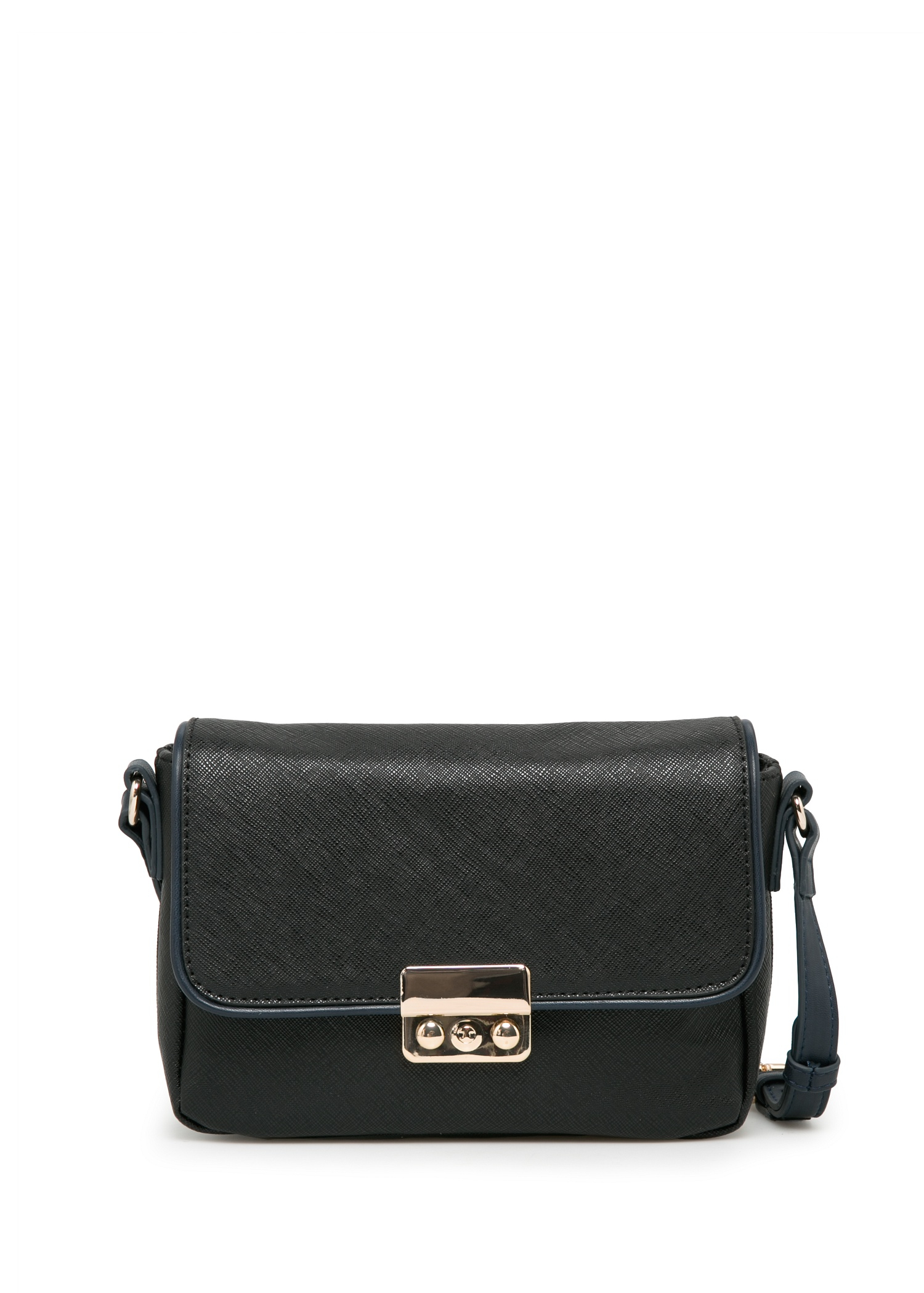 violeta by mango trim saffiano effect bag in black lyst