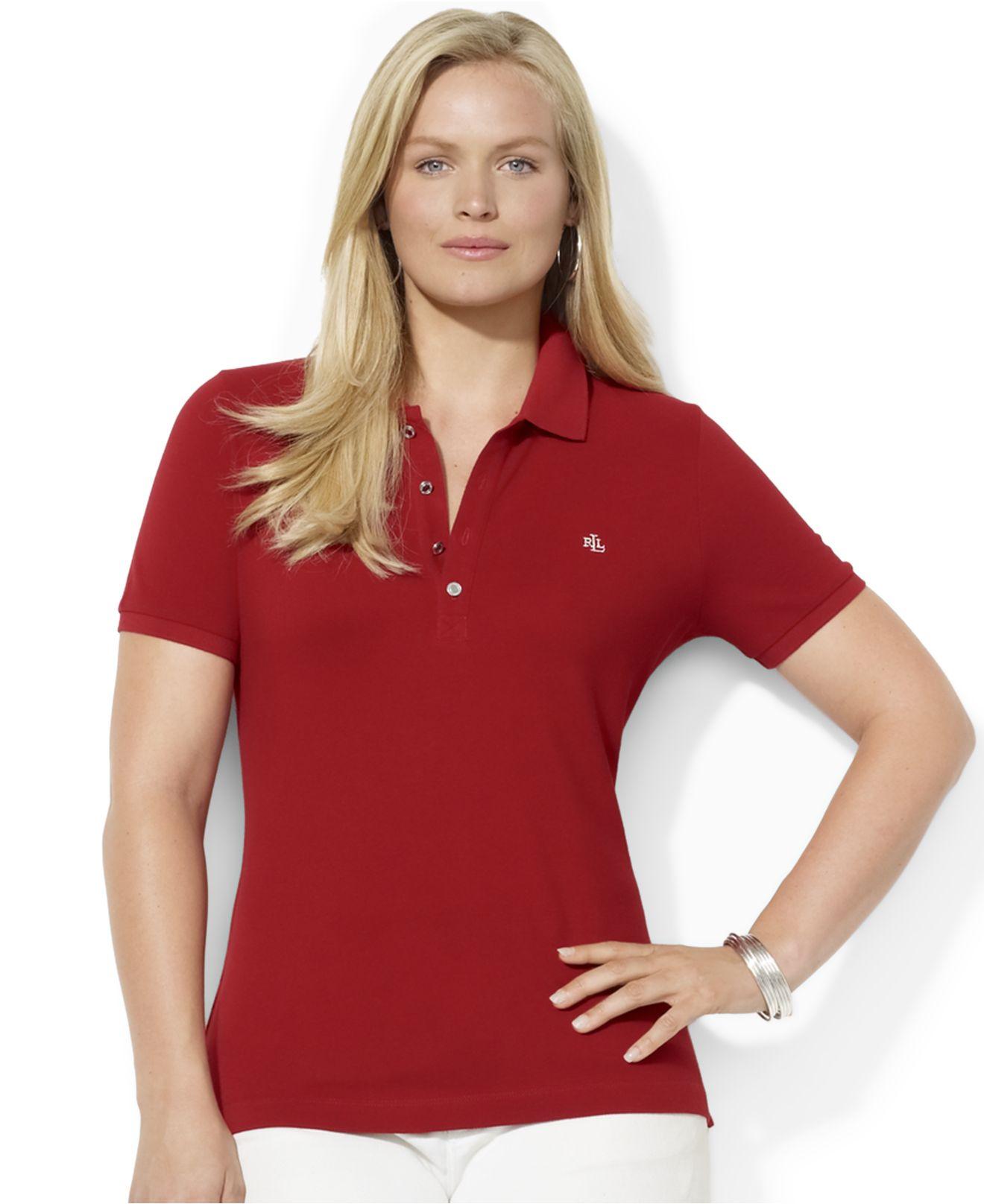 102cb93585c5d9 ... discount lyst lauren by ralph lauren plus size polo shirt in red a663c  09a7e