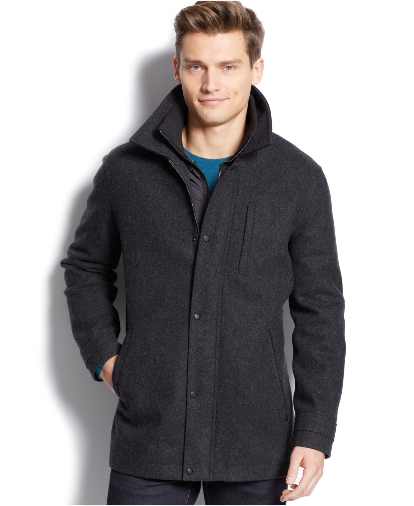 Calvin klein Wool-Blend Melton Bibbed Car Coat in Gray for Men | Lyst