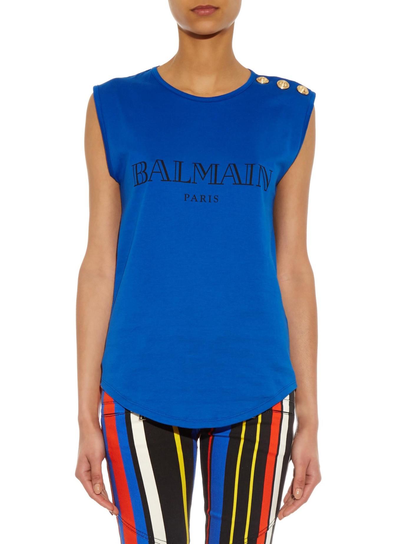 Best Wholesale logo printed tank top - Blue Balmain Outlet Websites View For Sale Gj1IWpOIIQ